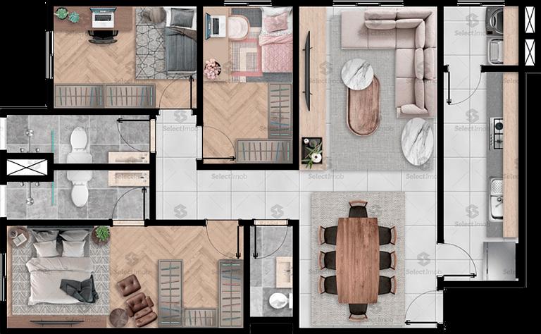 Residencial Saint Denis planta 98 m2