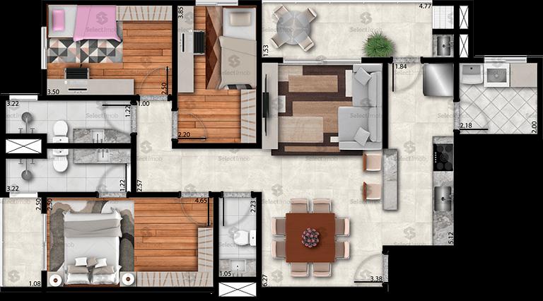 Residencial Saint Denis planta 104 m2